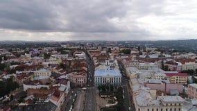 切尔诺夫策,乌克兰空中hyperlapse录影  切尔诺夫策城镇厅 快行云彩 影视素材