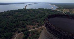 切尔诺贝利核电站的冷却塔未完成的srade (空中) 股票录像