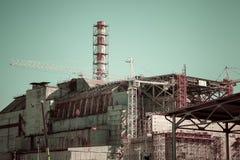 切尔诺贝利核电站的第四个块的看法 免版税库存图片