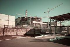 切尔诺贝利核电站的第四个块的看法 免版税库存照片