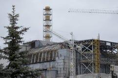 切尔诺贝利,乌克兰- 2015年12月14日:切尔诺贝利核电站 免版税图库摄影