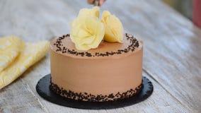 切开在板材的巧克力蛋糕 巧克力蛋糕装饰了白色巧克力花 股票录像