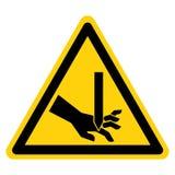 切开手指平直的刀片标志标志,传染媒介例证,在白色背景标签的孤立 EPS10 皇族释放例证