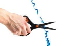 切开最高荣誉与剪刀的手被隔绝 免版税库存图片