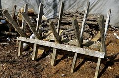 切开的木柴结构到牛颈肉里 库存照片