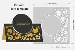 切开的模板卡片 轻便短大衣 祝贺的,邀请,介绍,婚礼用途 图库摄影