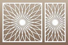 切开的模板 坛场,蔓藤花纹样式 激光裁减 集合 向量例证
