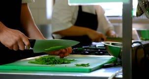 切开菜的厨师在厨房里在餐馆4k 股票录像
