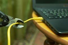 切开连接的互联网缆绳到少年 免版税库存图片