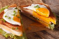 切成了两半与一个煎蛋、火腿和乳酪特写镜头的三明治 免版税库存图片