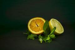 切成了两半柠檬和桔子果子  图库摄影