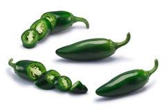 切成小方块的和整个墨西哥胡椒辣椒,道路 免版税库存图片