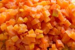 切成小方块的红萝卜 库存图片