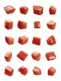 切成小方块的蕃茄 免版税库存照片