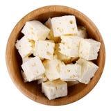 切成小方块的软干酪 免版税库存照片