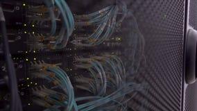 切断在机架的计算机在大数据中心 光纤电缆接头活动指示器眨眼睛 股票录像