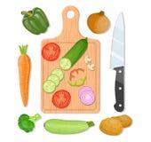 切板和菜 库存例证