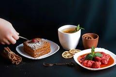 切片倾吐的蜜糕,厨师装饰用草莓,点心叉子,薄菏,烘干了柠檬,桂香,草莓酱棍子  免版税库存照片