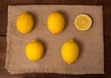 切片四个柠檬 免版税库存图片