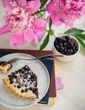 切片在板材的一个莓果饼 库存图片
