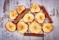 切片在老土气木背景的干苹果和肉桂条 免版税库存图片