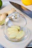 切片姜根源包括由玻璃盖 免版税库存图片