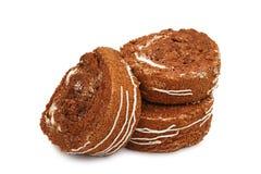 切片小甜面包在白色背景结块隔绝 库存图片