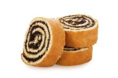切片小甜面包在白色背景结块隔绝 免版税库存照片