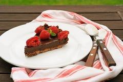 切片巧克力馅饼用莓 免版税图库摄影