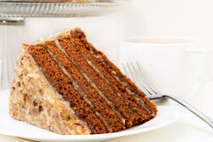 切片德国巧克力蛋糕特写镜头 免版税库存照片