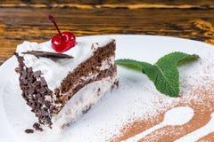 切片新近地被烘烤的乳脂状的巧克力蛋糕 库存照片