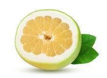 切片柑橘糖果或Pomelit,与在白色背景特写镜头隔绝的叶子的oroblanco 库存图片