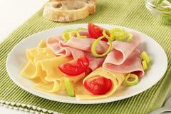 切片火腿和瑞士乳酪 库存照片