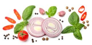 切片的混合在白色背景和香料隔绝的蕃茄、红洋葱、蓬蒿叶子、大蒜 顶视图 免版税库存图片