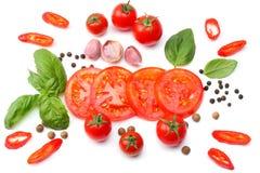 切片的混合在白色背景和香料隔绝的蕃茄、蓬蒿叶子、大蒜 顶视图 免版税库存图片