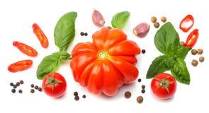 切片的混合在白色背景和香料隔绝的蕃茄、蓬蒿叶子、大蒜 顶视图 库存照片