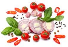 切片的混合蕃茄、红洋葱、蓬蒿叶子、大蒜和香料在白色背景 顶视图 库存照片