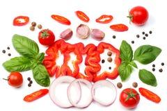切片的混合蕃茄、蓬蒿叶子、大蒜、在白色背景和香料隔绝的甜椒胡椒 顶视图 库存图片