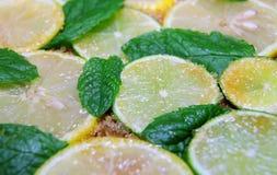 切片石灰和薄菏柠檬、叶子和蔗糖 库存图片