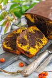 切片自创南瓜巧克力蛋糕 免版税库存图片