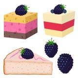 切片蛋糕用黑莓,点心用莓果 有机食品 免版税库存图片