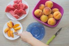 切片西瓜和桃子在一块板材在木桌上 有机成熟无核的西瓜和桃子裁减成楔子 免版税库存照片