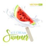 切片西瓜果子在一个忠心于的冰淇凌牛奶或酸奶下落 图库摄影