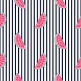切片西瓜 水平的镶边夏天无缝的样式 使用为设计表面,织品,纺织品,包装的纸, 向量例证