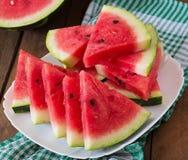 切片水多和鲜美西瓜 库存图片