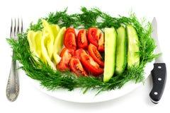 切的新鲜的蕃茄,黄瓜,在白色隔绝的胡椒莳萝 图库摄影