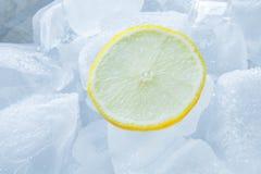 切的柠檬和冰 免版税图库摄影