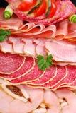 切的火腿、蒜味咸腊肠和被治疗的肉盛肉盘  库存图片
