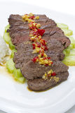 切的膳食肉用红辣椒大蒜和黄瓜 库存图片