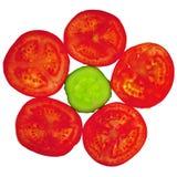 从切的蕃茄和黄瓜的花 库存图片